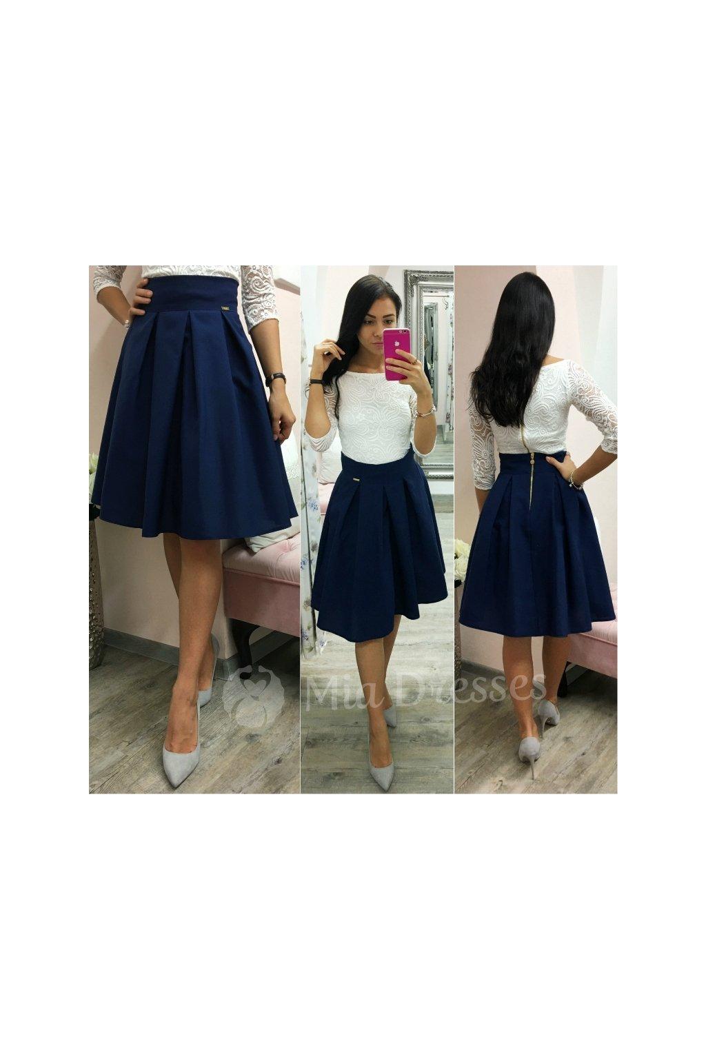 c6b2a3001c36 Tmavomodrá áčková krátka sukňa - Mia Dresses