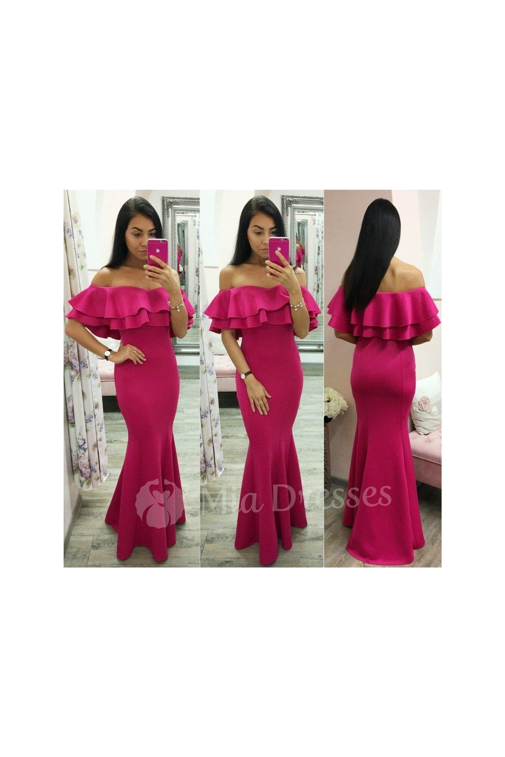 b57eae837 Cyklaménové spoločenské šaty s volánom - Mia Dresses