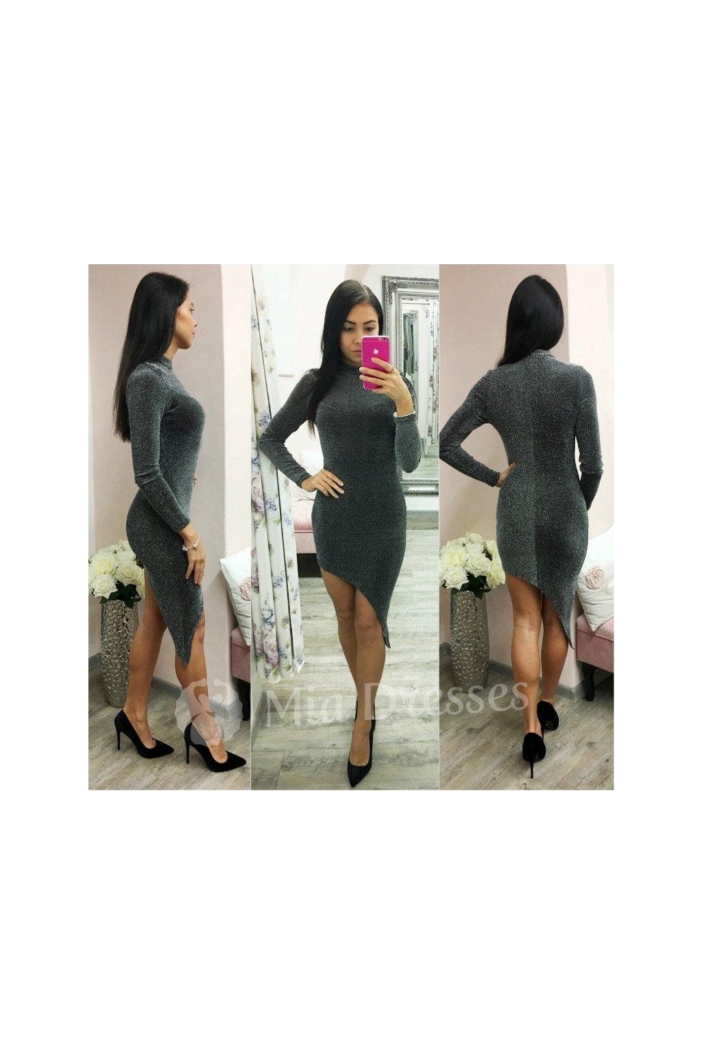 Strieborné asymetrické šaty