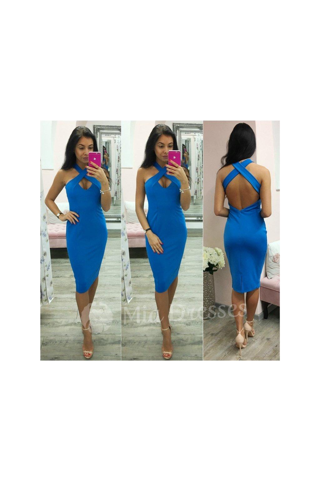 Modré midi šaty s prekríženými ramienkami