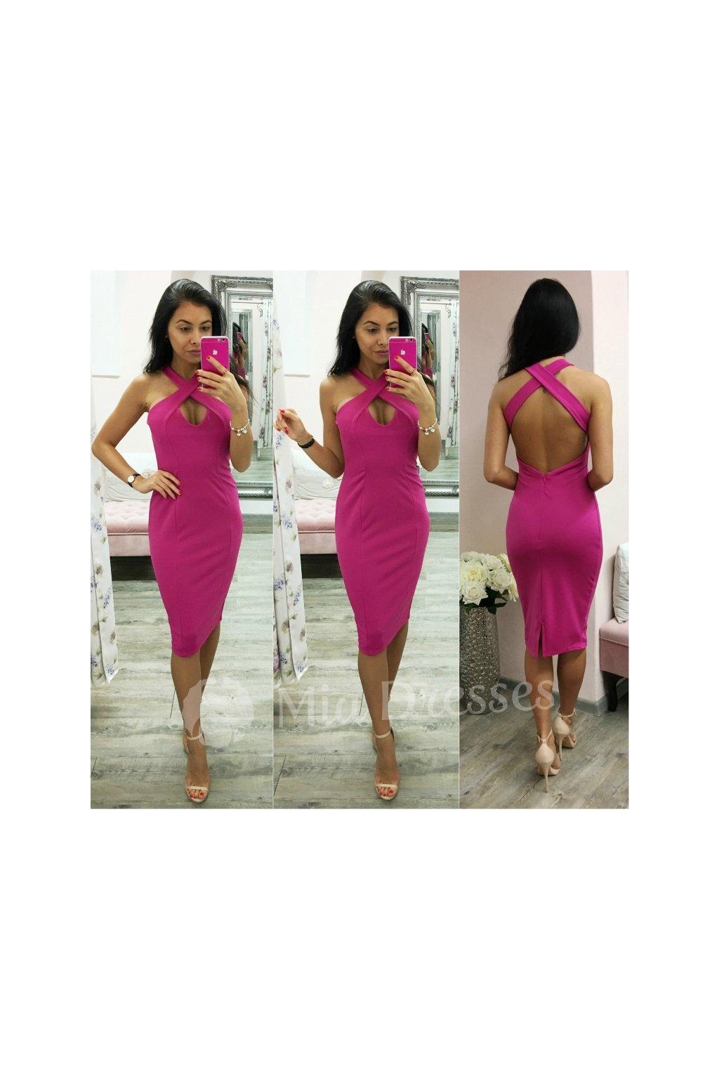 b6a885ed39dd Cyklaménové spoločenské šaty s prekríženými ramienkami - Mia Dresses