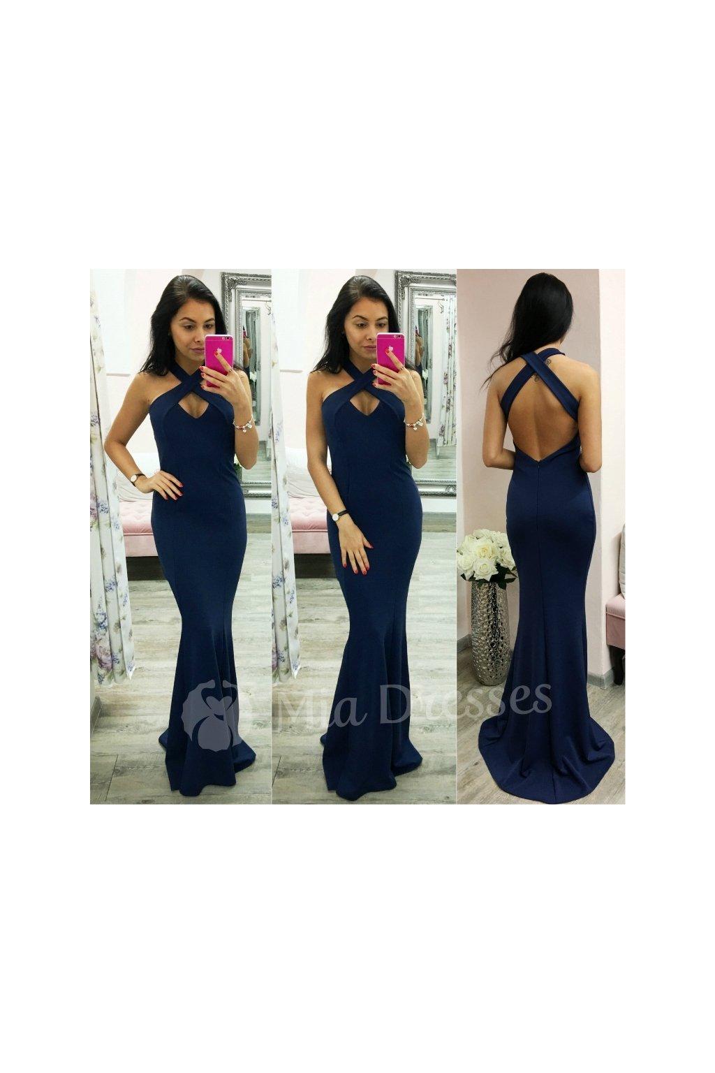 f4eb0121e3d7 Modré spoločenské šaty s prekríženými ramienkami - Mia Dresses