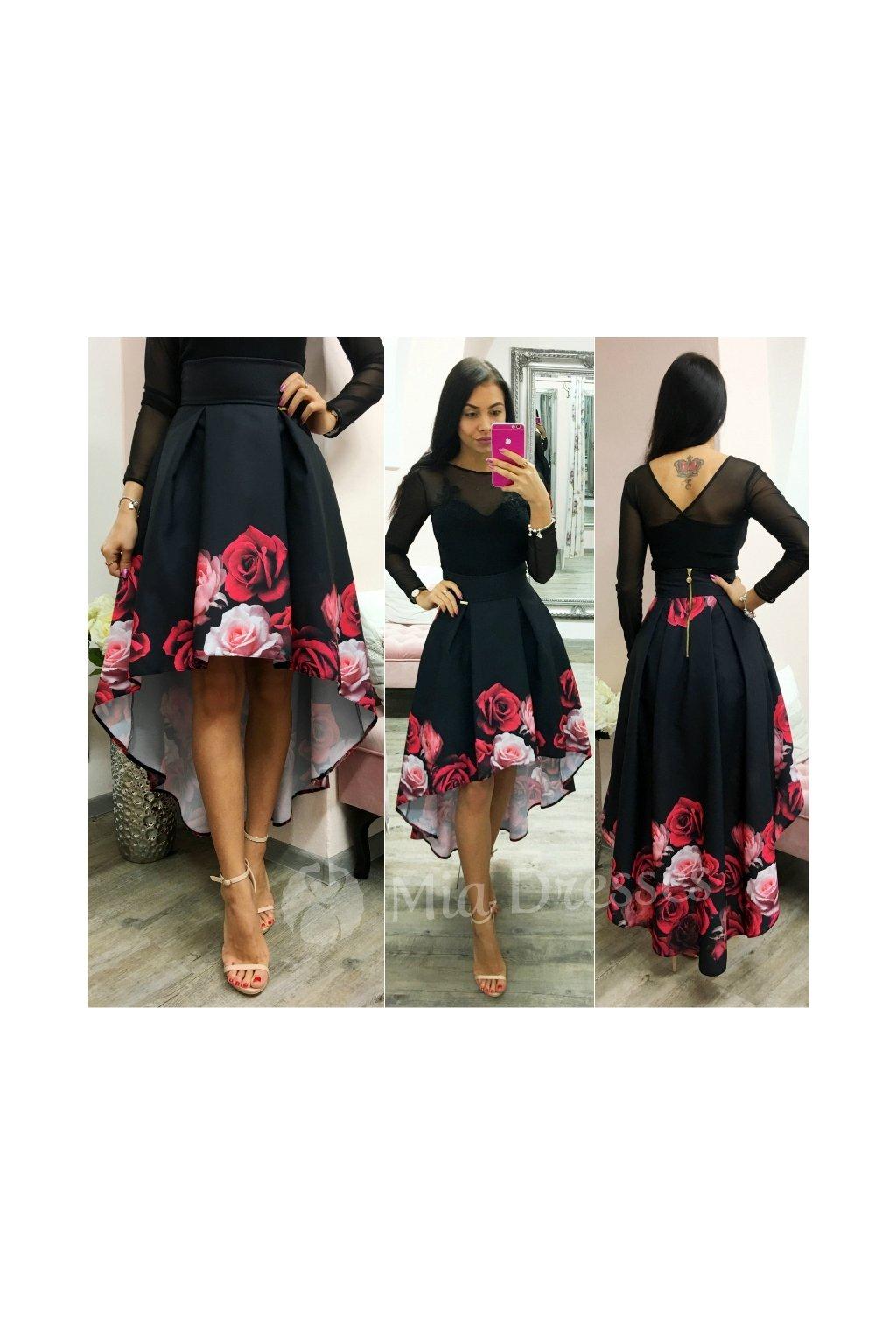 Kvetinová asymetrická sukňa RED