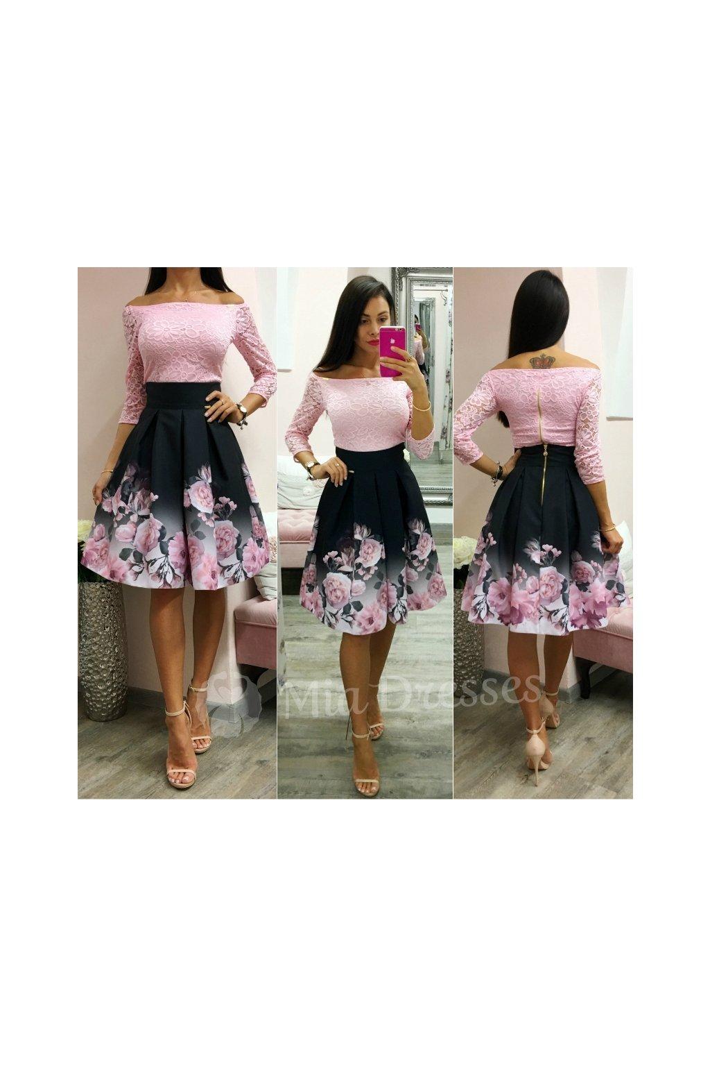 Čierna kvetinová krátka sukňa