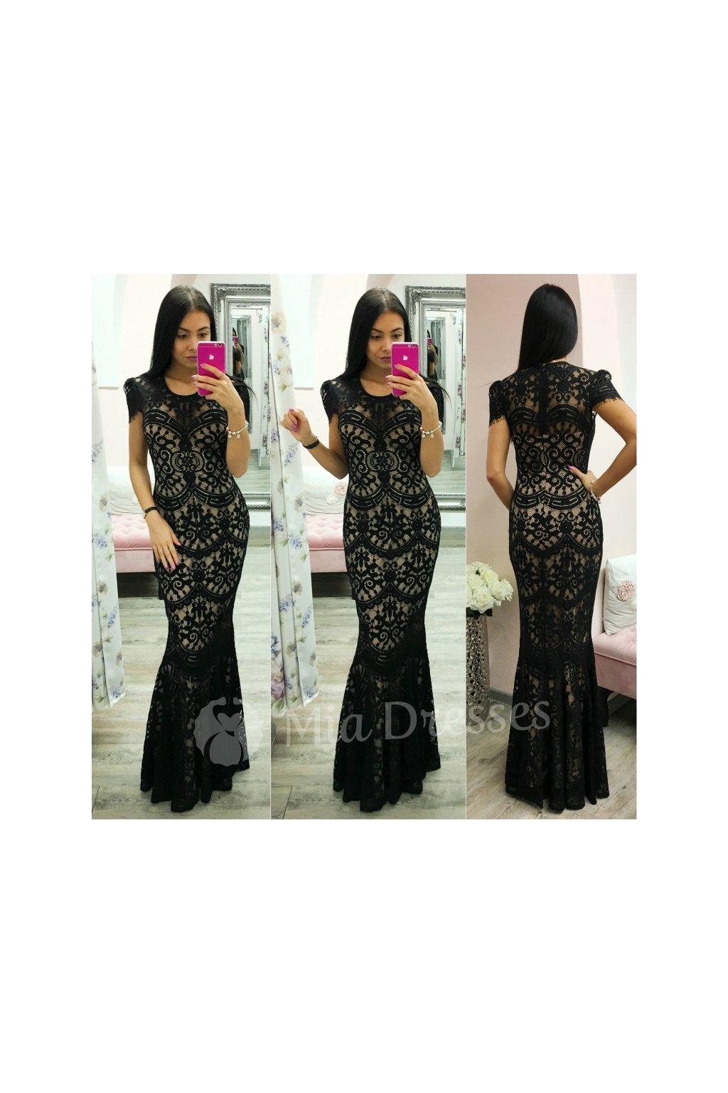 Čierne spoločenské šaty s krajkou