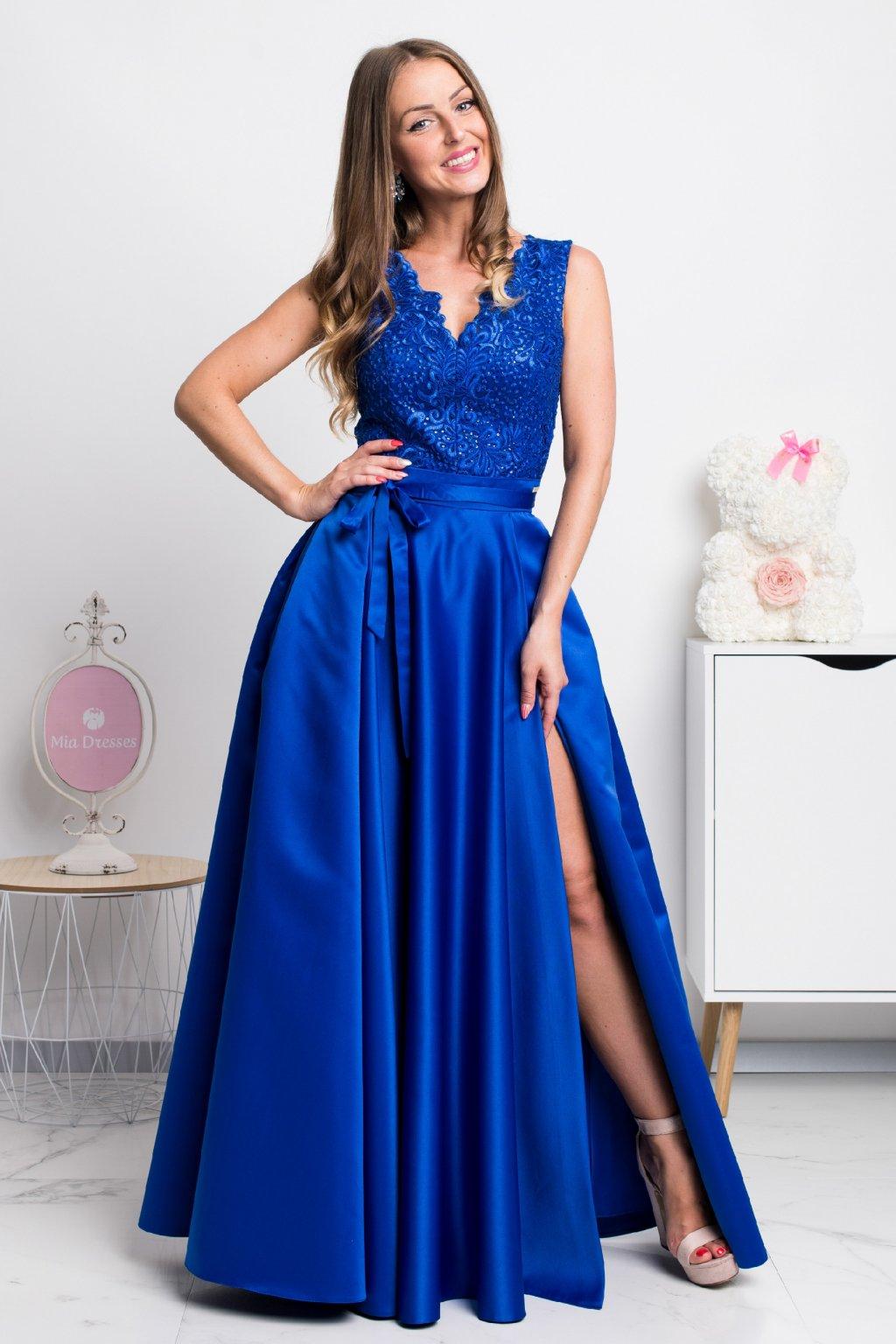 0470f52717a5 Modré spoločenské šaty so saténovou sukňou - Mia Dresses