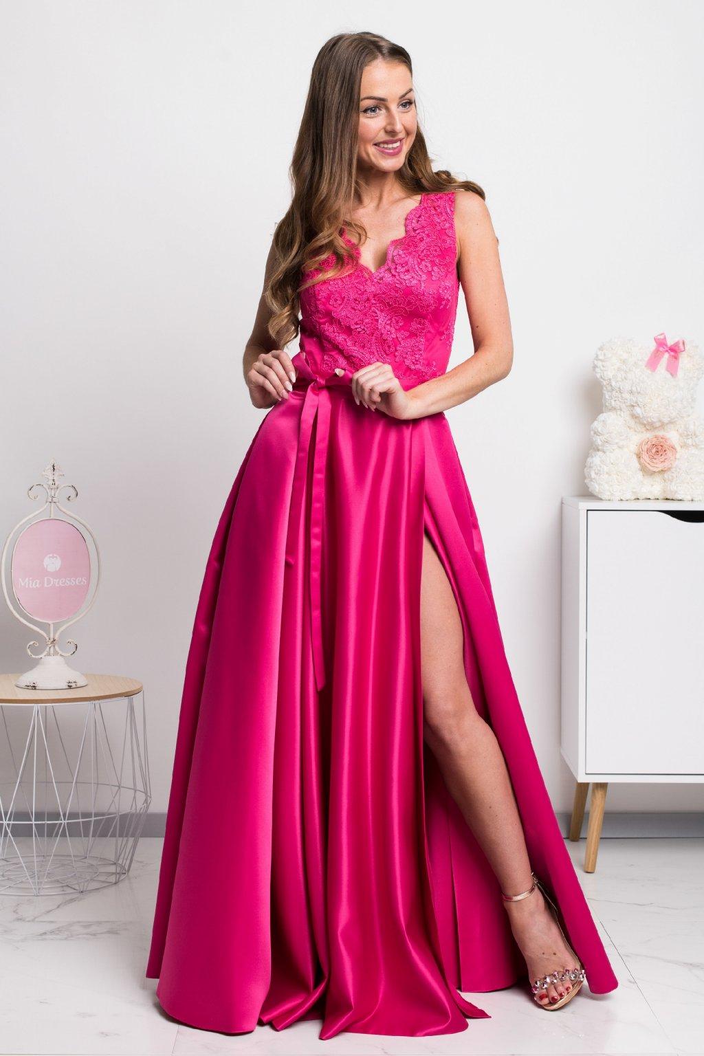 Červené spoločenské šaty so saténovou sukňou - Mia Dresses 7fcf4bba73c