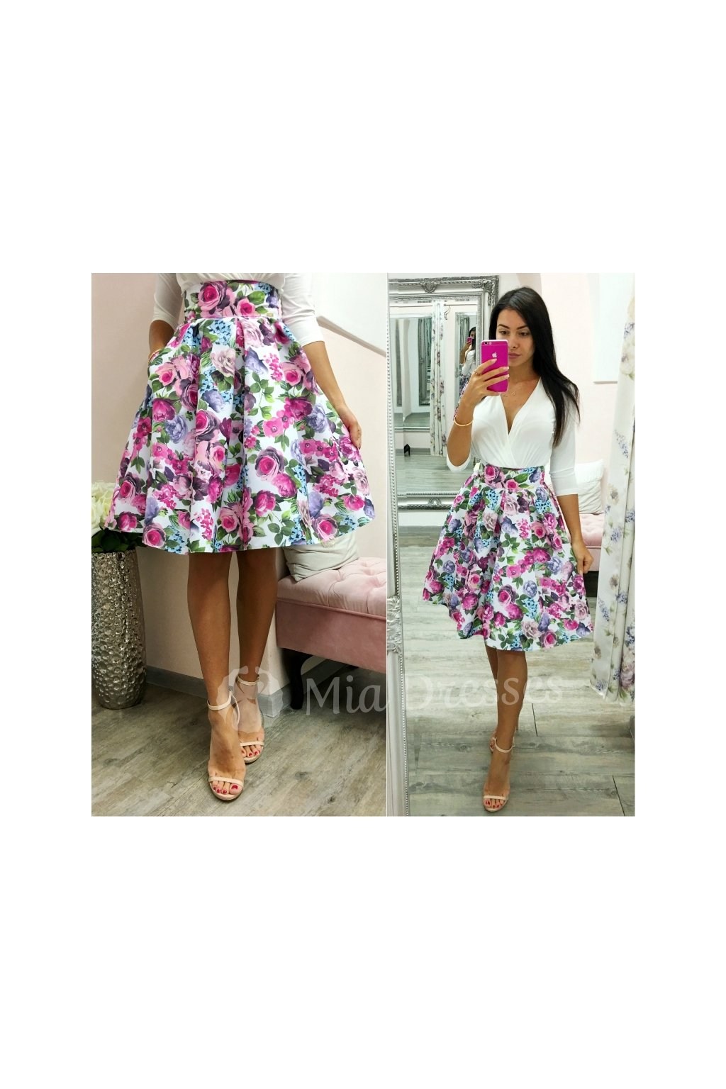 4f98ccad4446 Farebná kvetinová krátka sukňa - Mia Dresses
