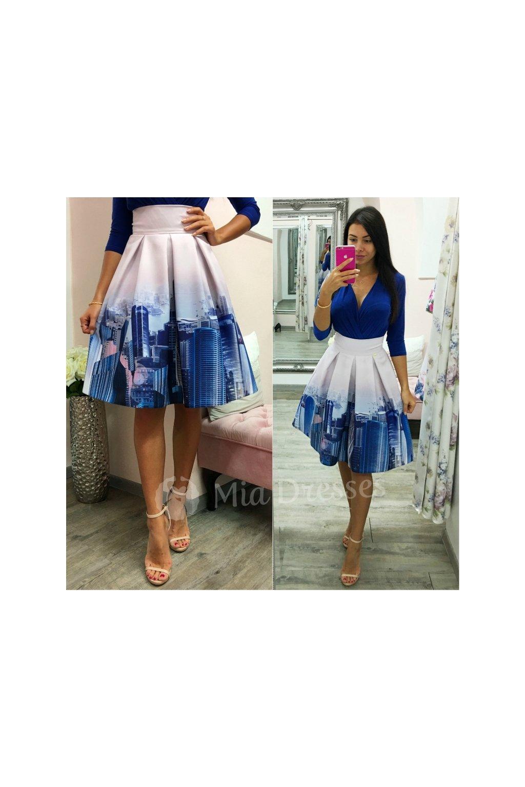 Fialová krátka sukňa s mrakodrapmi