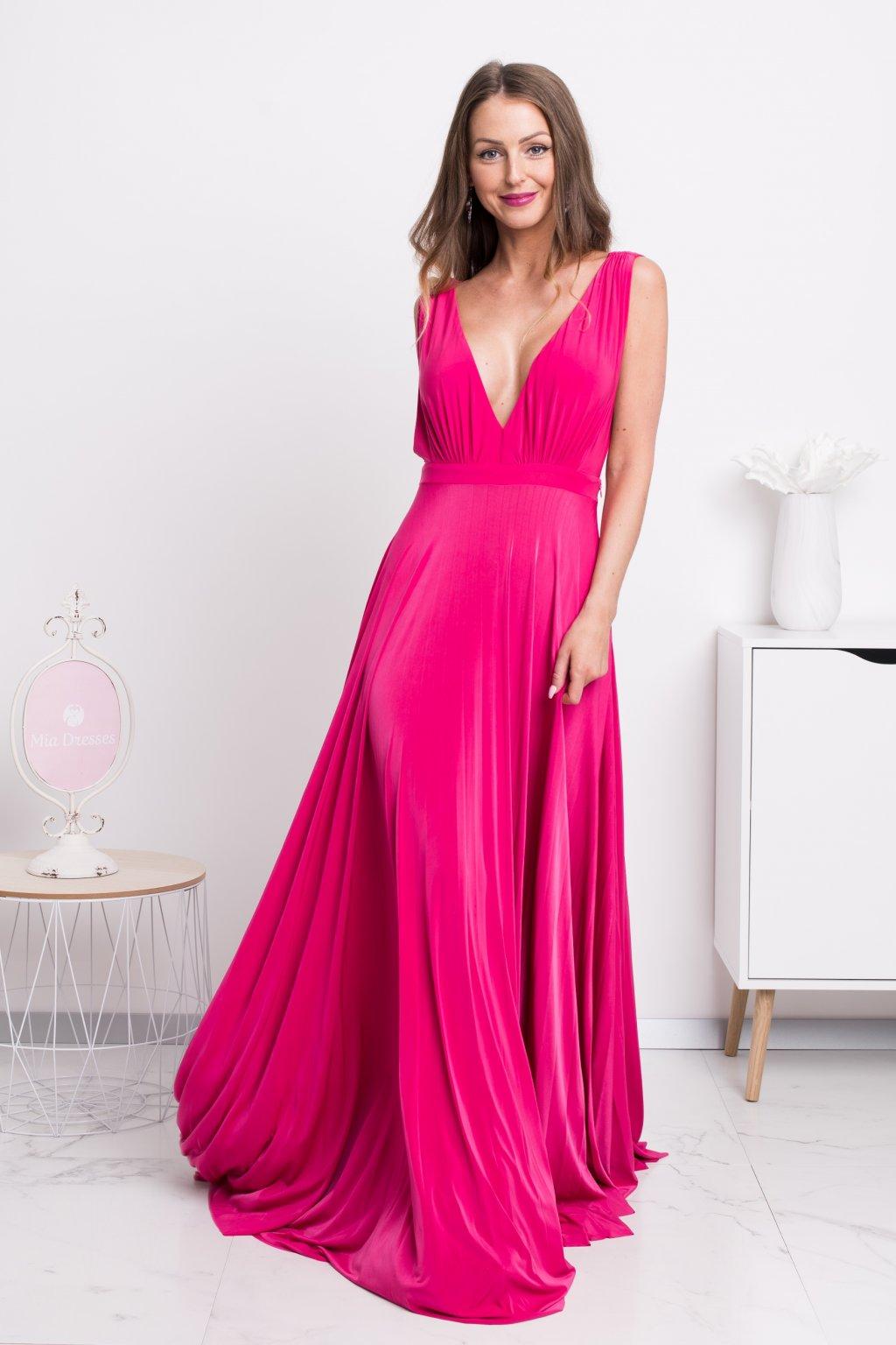 Cyklaménové spoločenské šaty s plisovanou sukňou