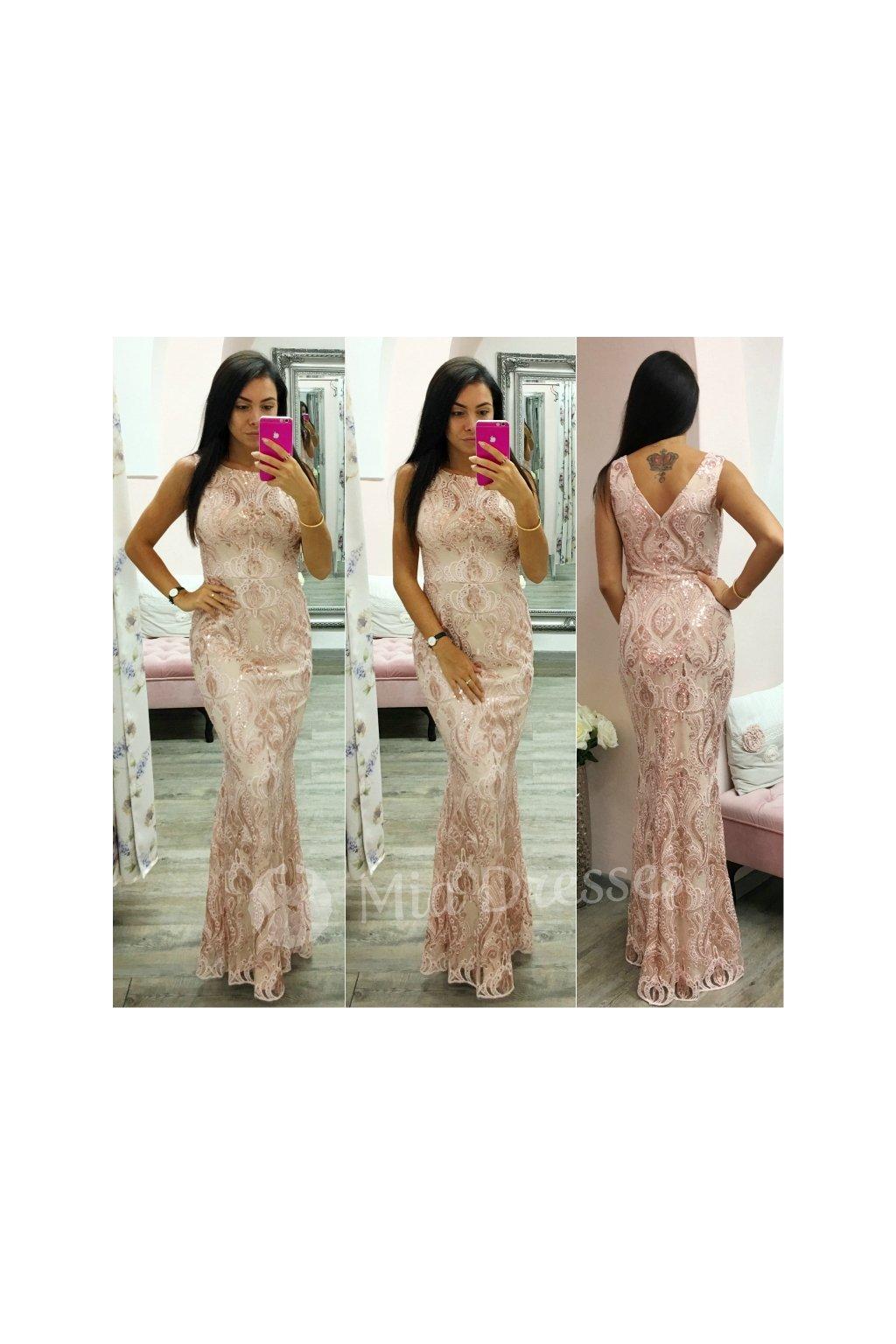 Ružové dlhé šaty - Mia Dresses a2b0db4b37