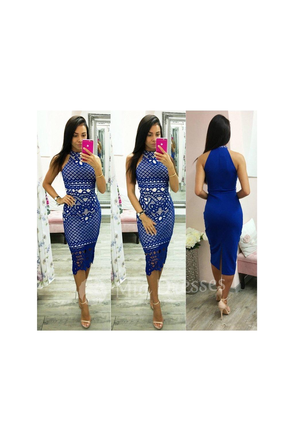 Modré krajkové midi šaty s rozparkom