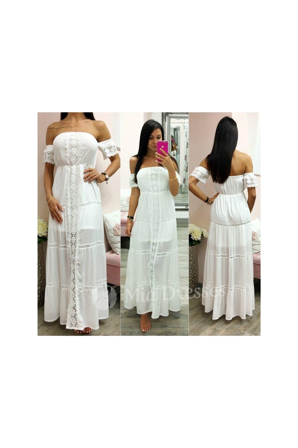 9a53e8da8d Biele dlhé letné šaty - Mia Dresses