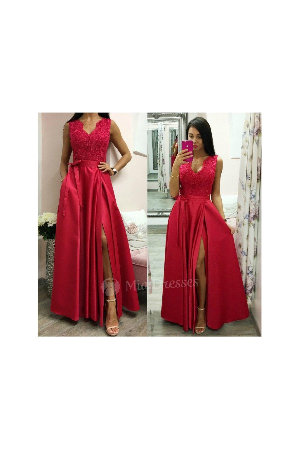 7466a646d13 Červené spoločenské šaty so saténovou sukňou - Mia Dresses
