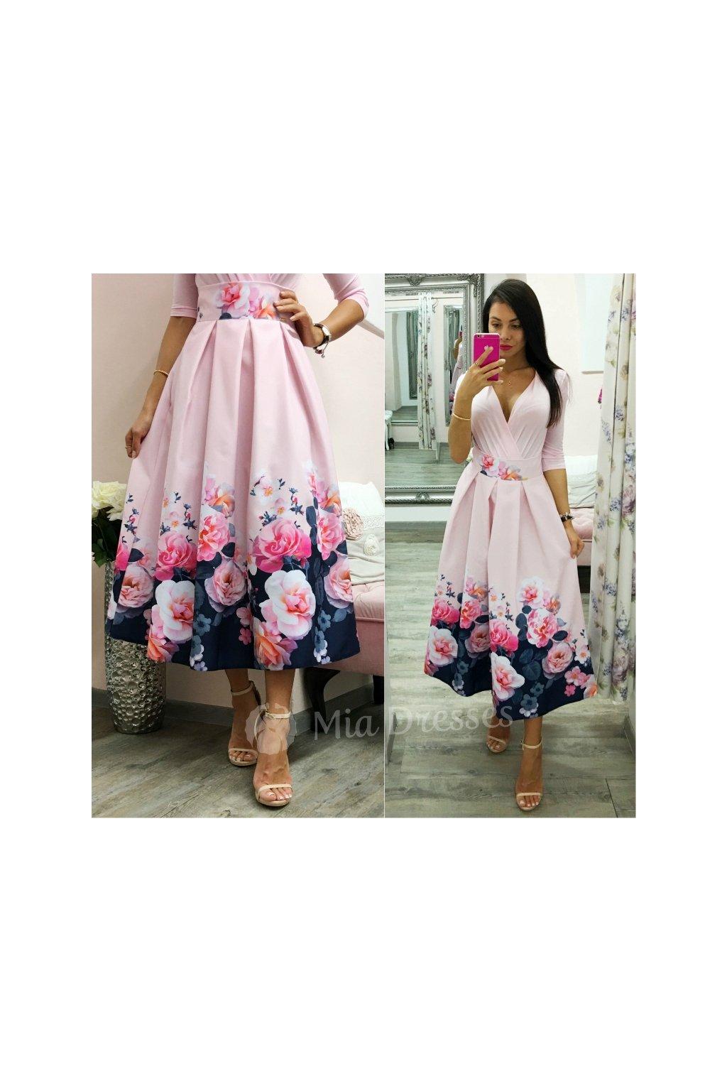 Ružová kvetinová midi sukňa