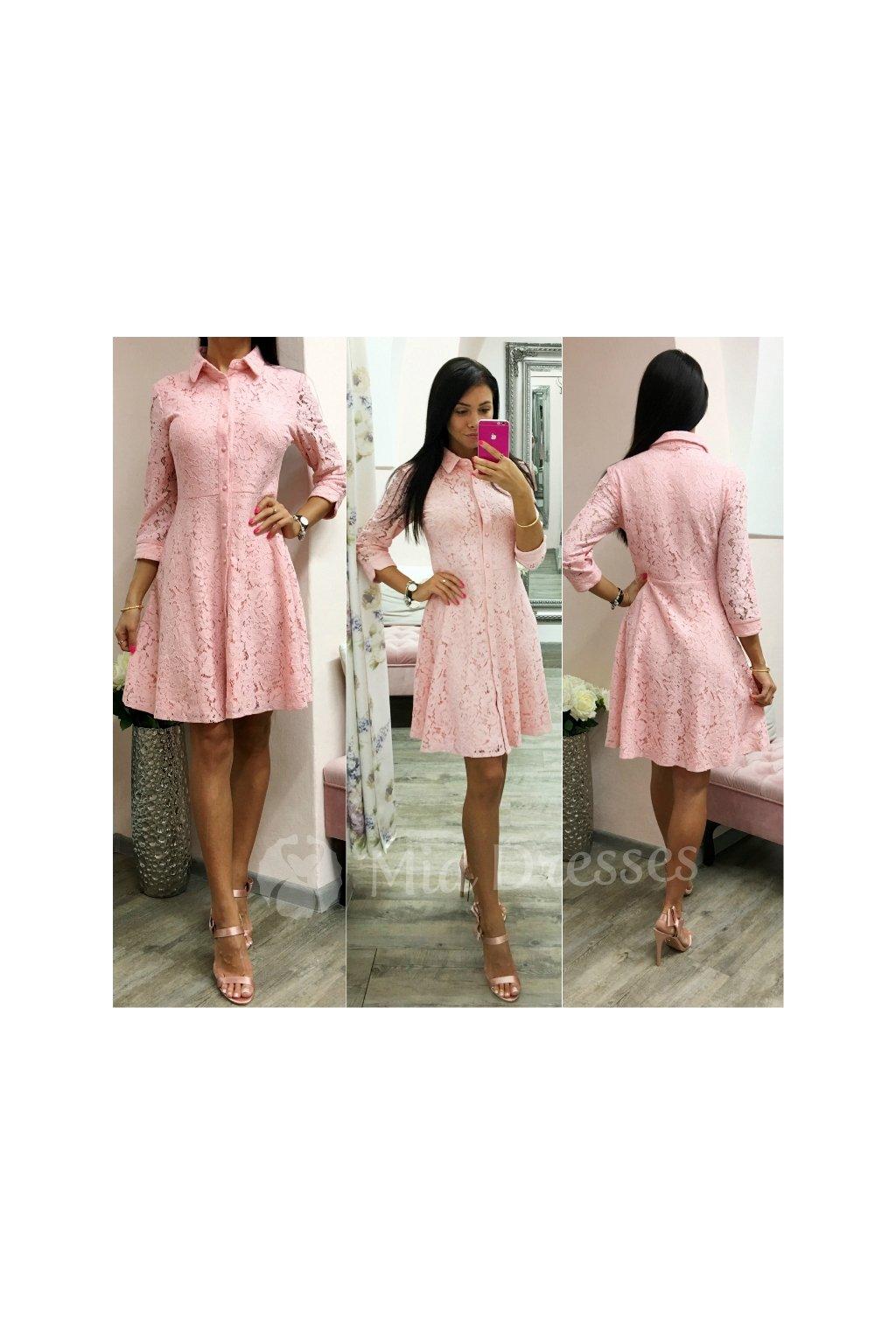 b59b5fc00b19 Ružové košeľové šaty s čipkou - Mia Dresses