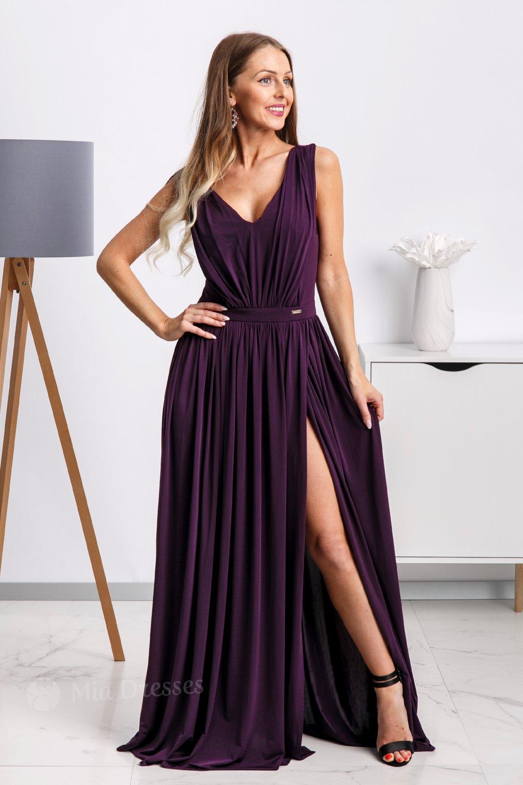926bef6cf3e6 Fialové spoločenské šaty s rozparkom - Mia Dresses