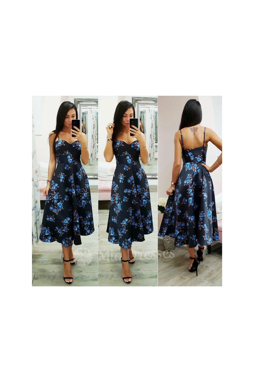 Čierno-modré midi šaty s kvetinami