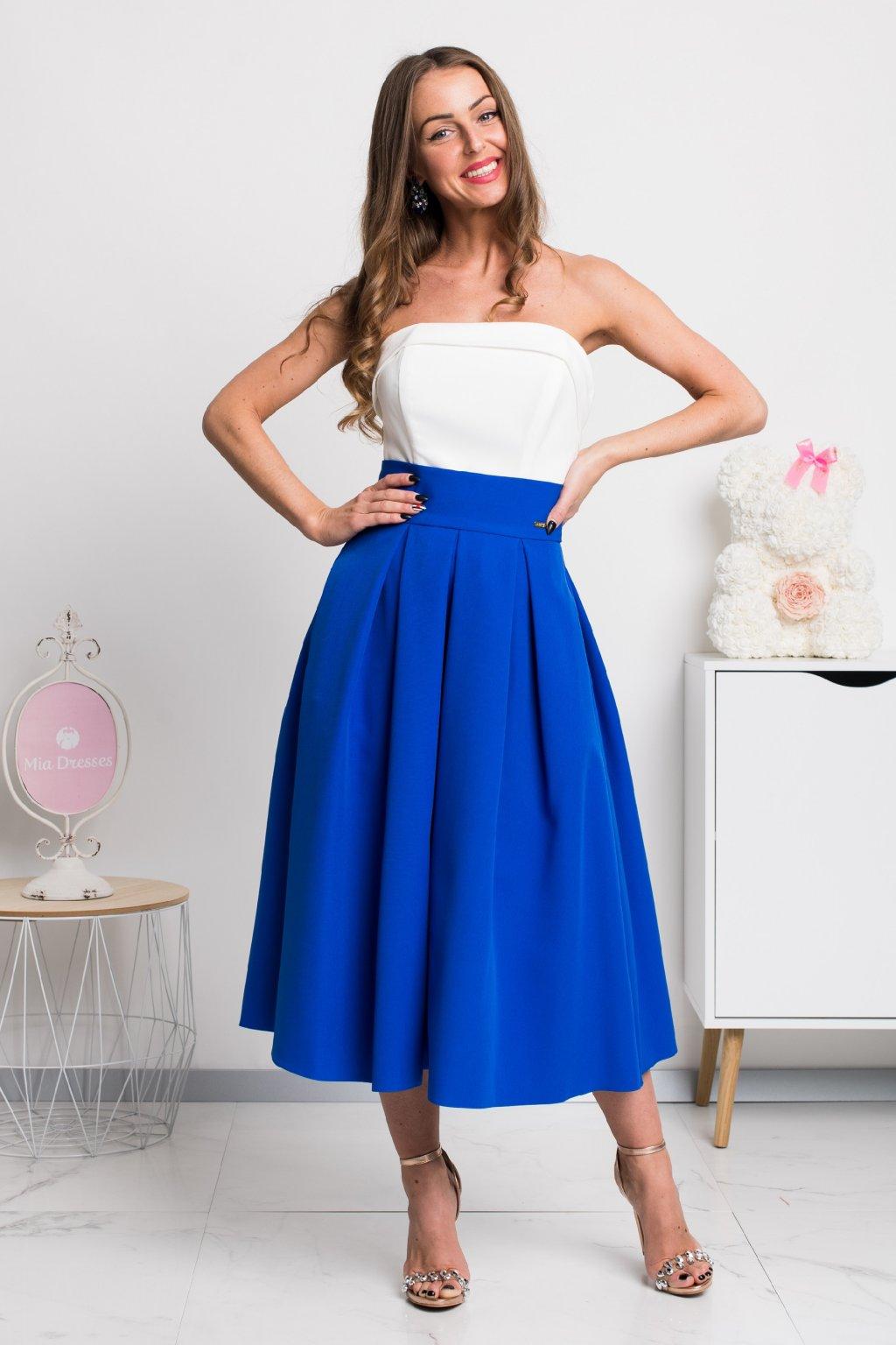 Modrá áčková midi sukňa