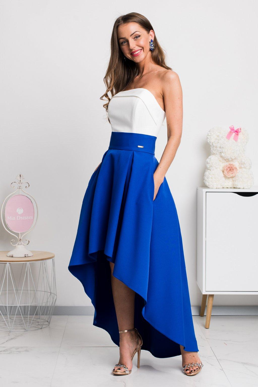 Modrá asymetrická sukňa