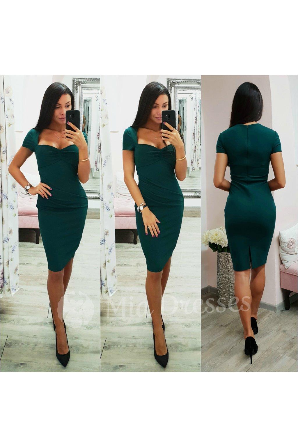 Smaragdové midi šaty s vykrojeným výstrihom