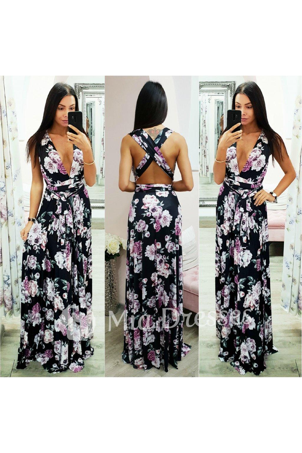 Čierne dlhé šaty s kvetinami