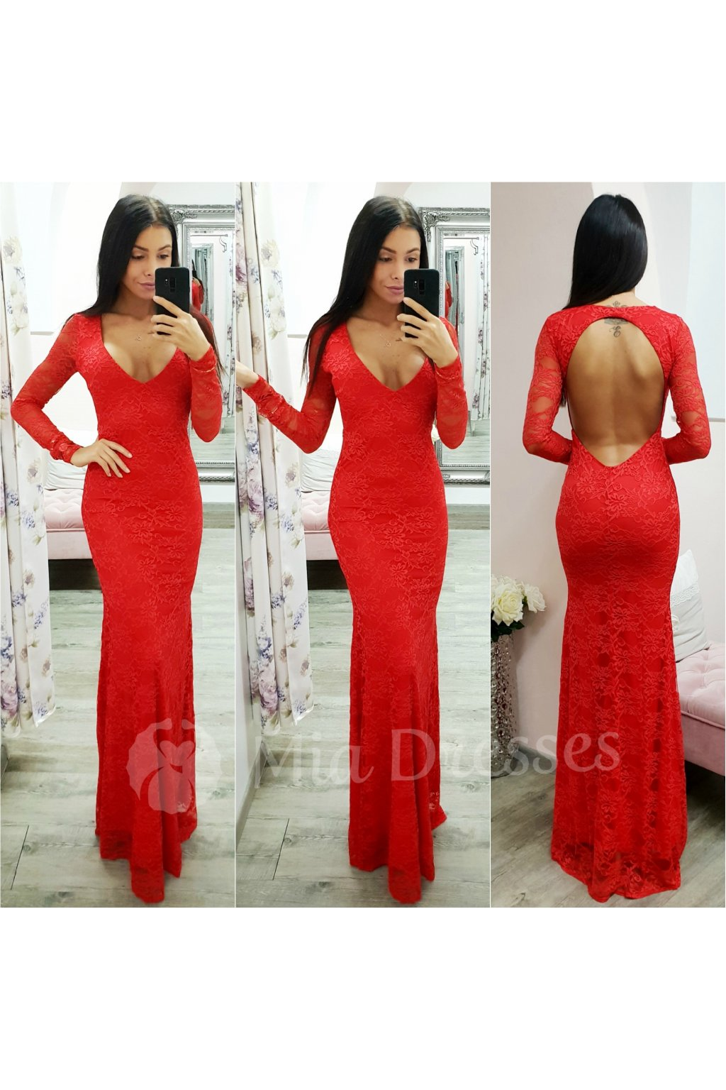 Červené dlhé čipkované šaty