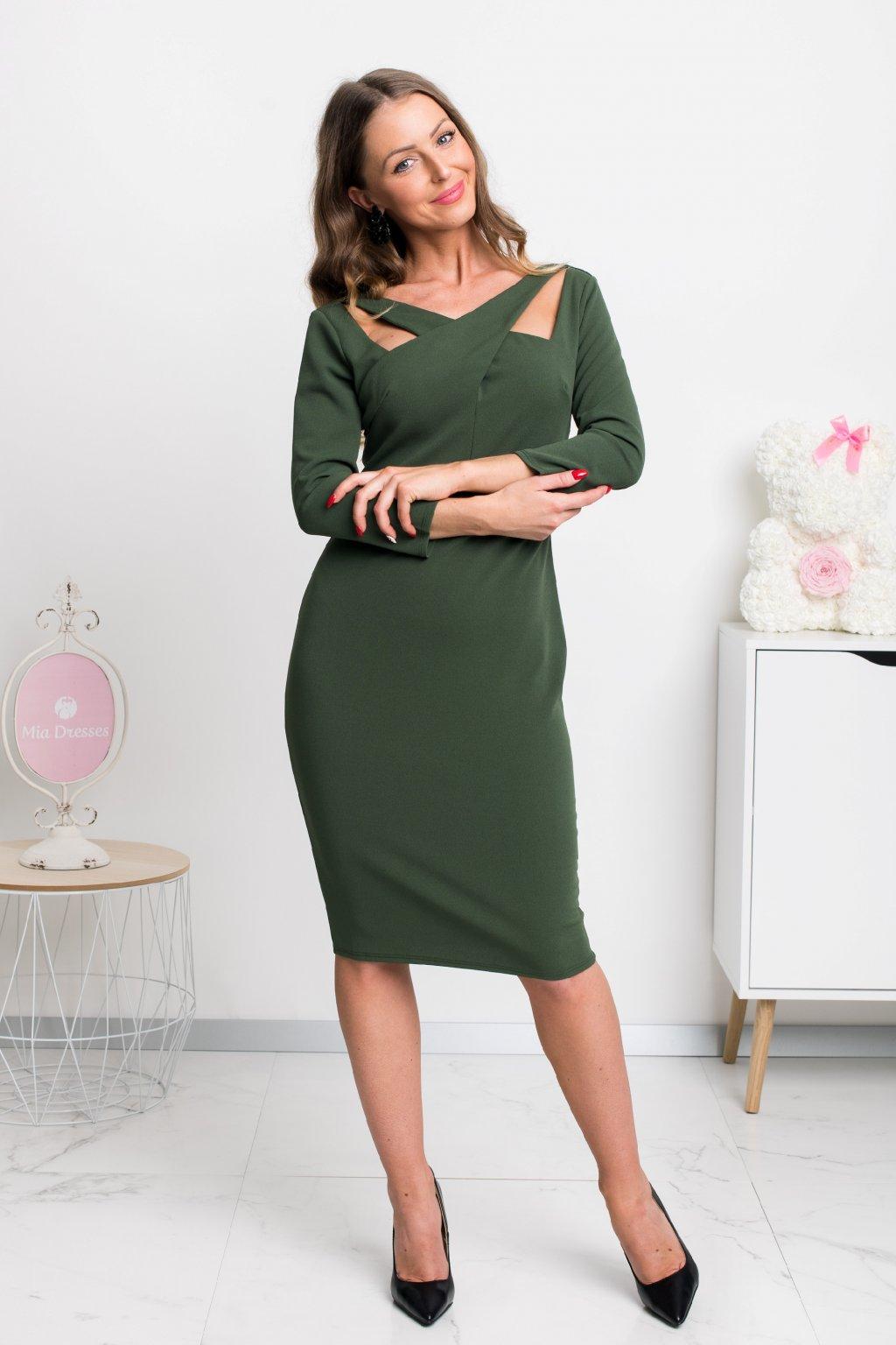 Olivové midi šaty s rukávmi