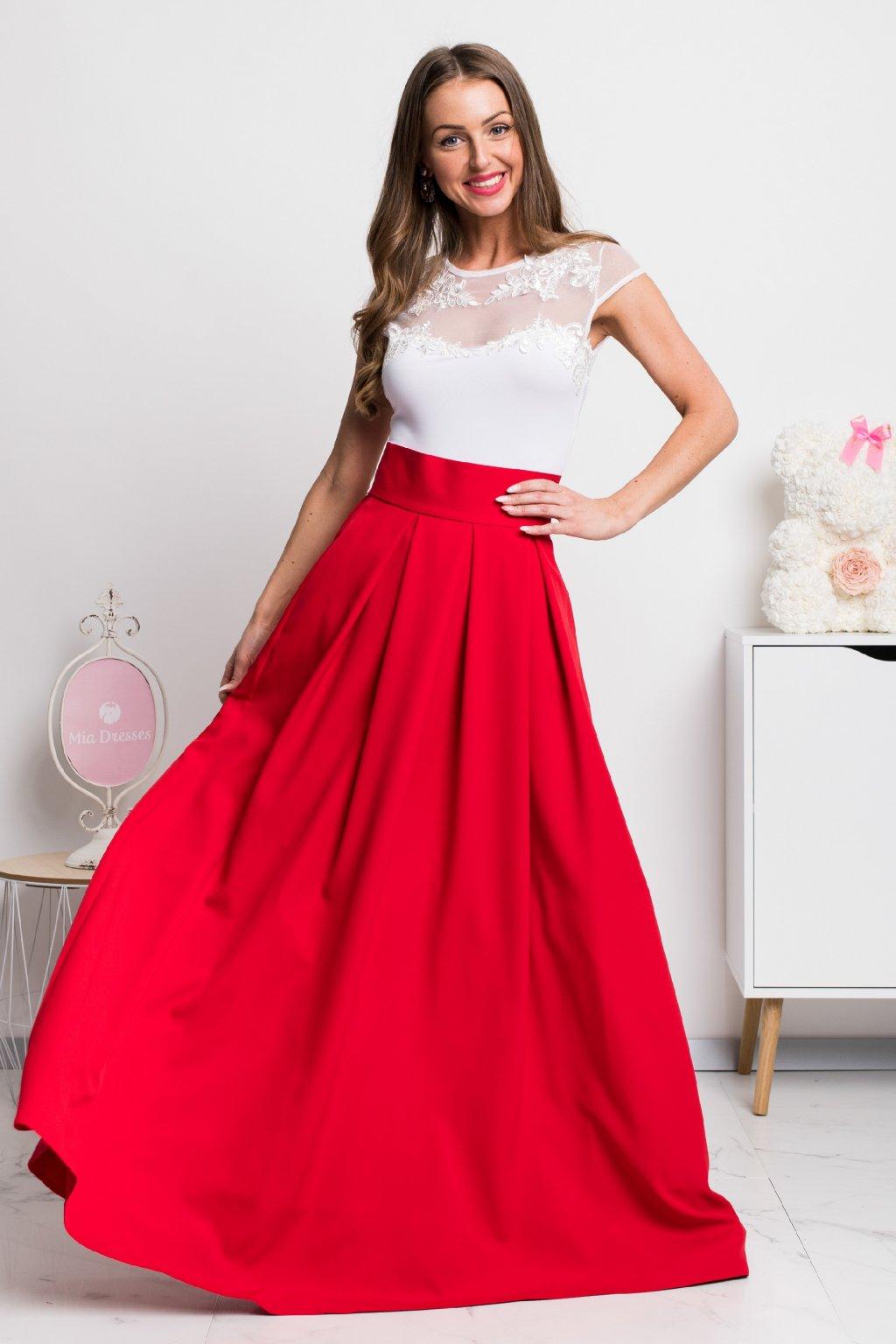 Červená dlhá sukňa