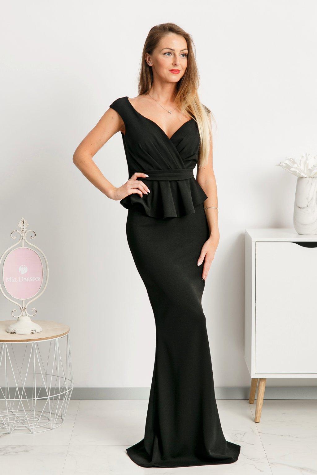Čierne spoločenské šaty s peplum volánikom