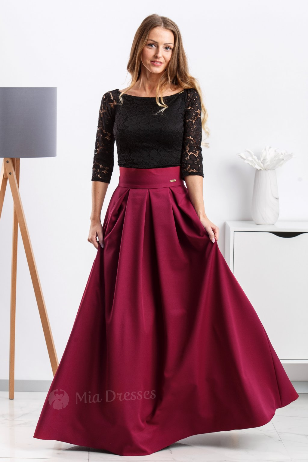 Bordová dlhá sukňa
