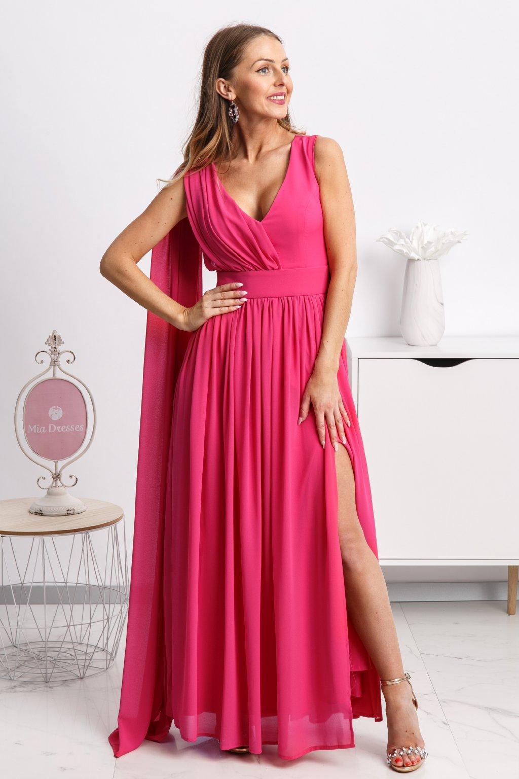 Ružové spoločenské šaty so štólou