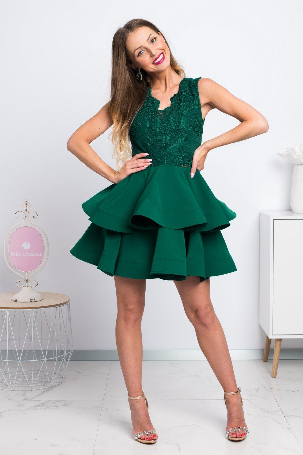 Zelené mini šaty s áčkovou sukňou
