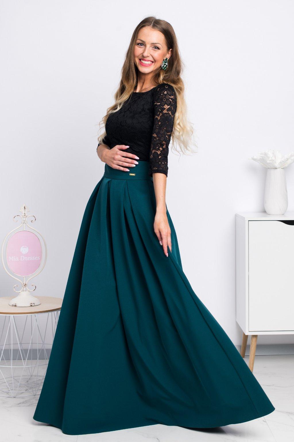 Smaragdová dlhá sukňa