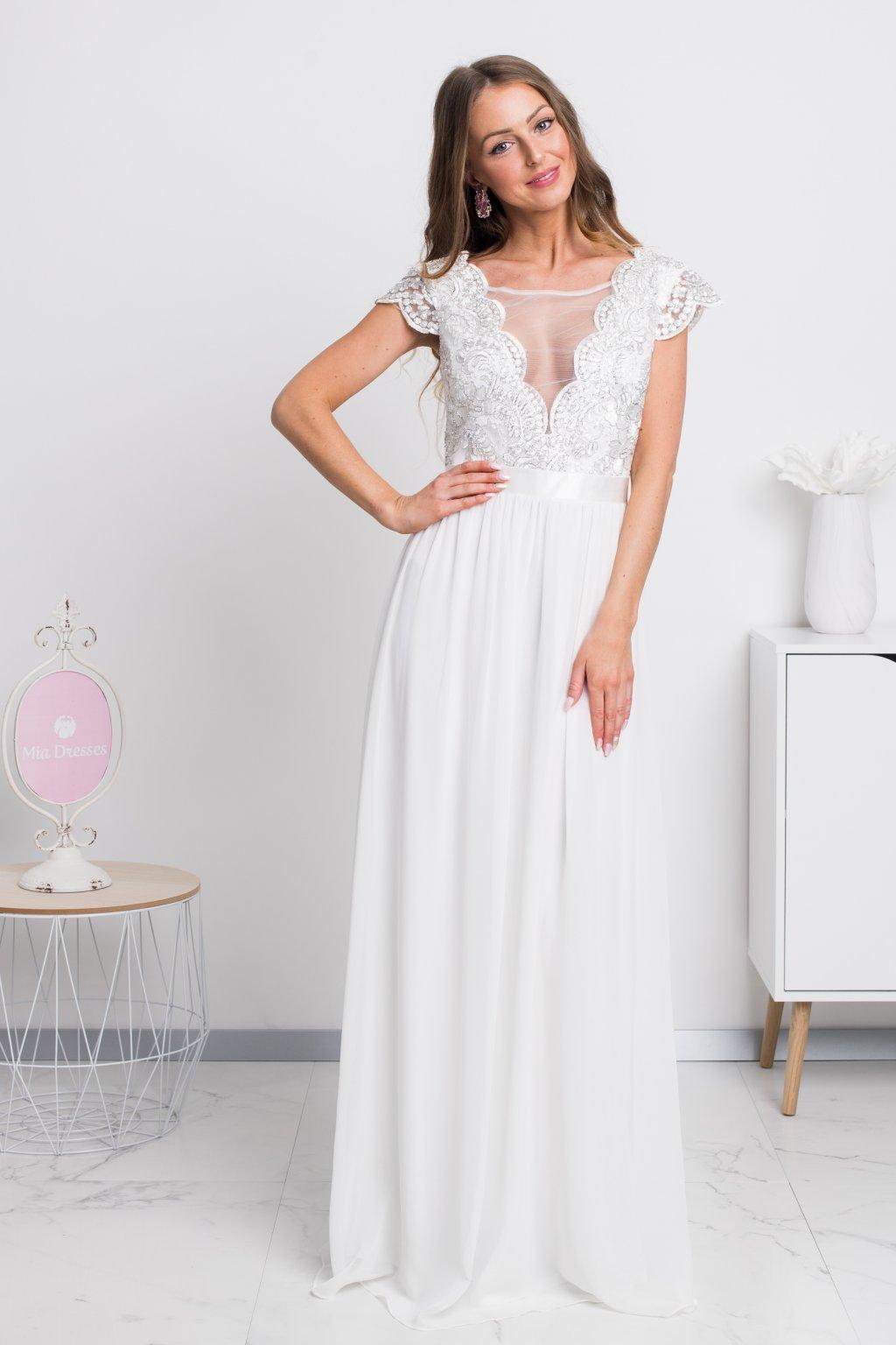 e698f5e4048c Smotanové spoločenské šifónové šaty - Mia Dresses