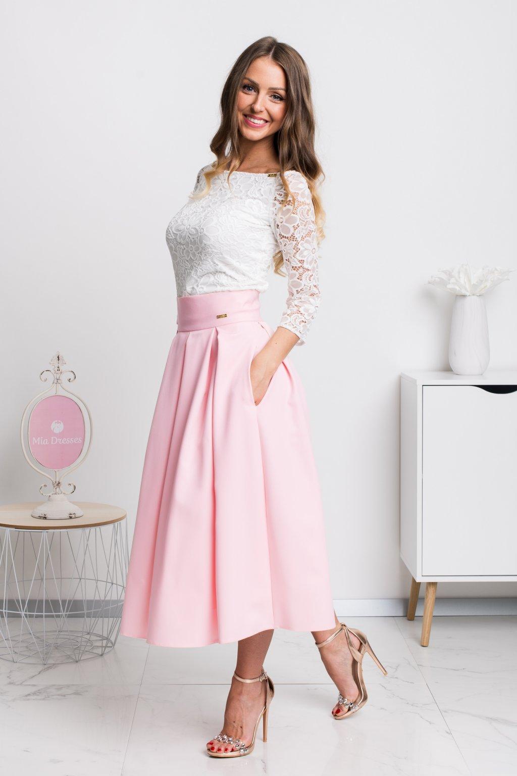 Svetloružová áčková midi sukňa