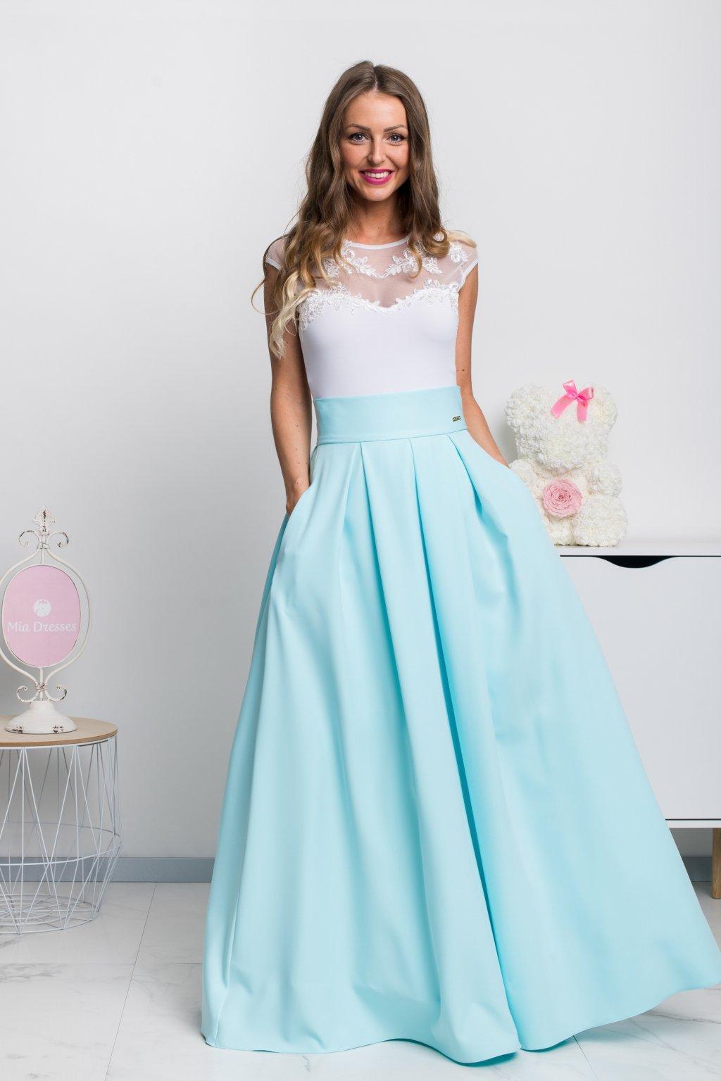 Svetlomodrá dlhá sukňa