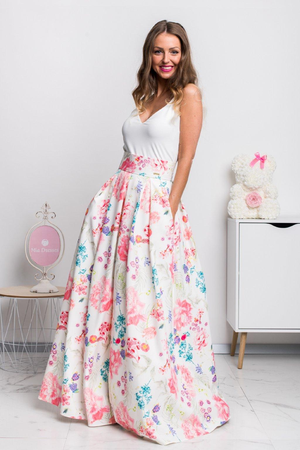 Kvetinová dlhá sukňa