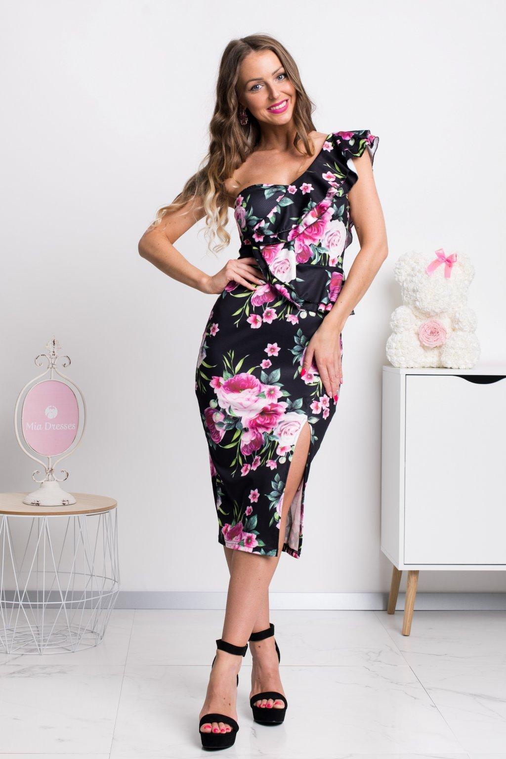 Čierno-ružové kvetinové midi šaty s volánikmi