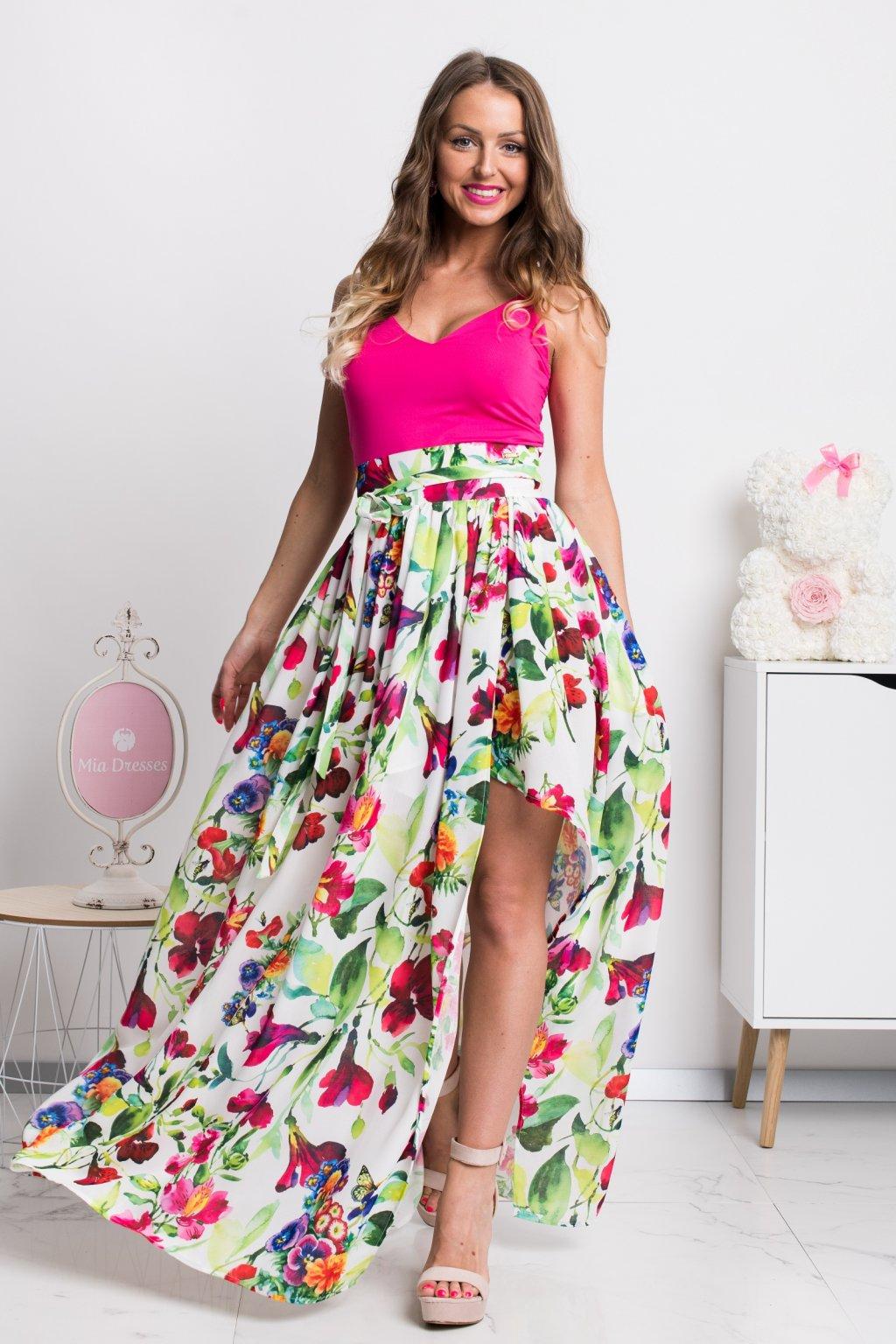 Kvetinová dlhá sukňa s rozparkom