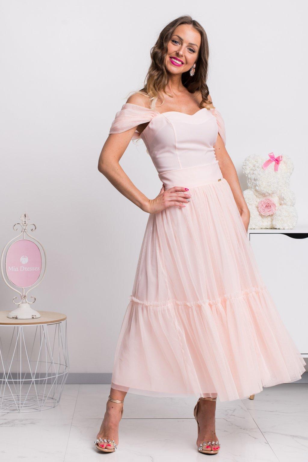 Marhuľová tylová midi sukňa