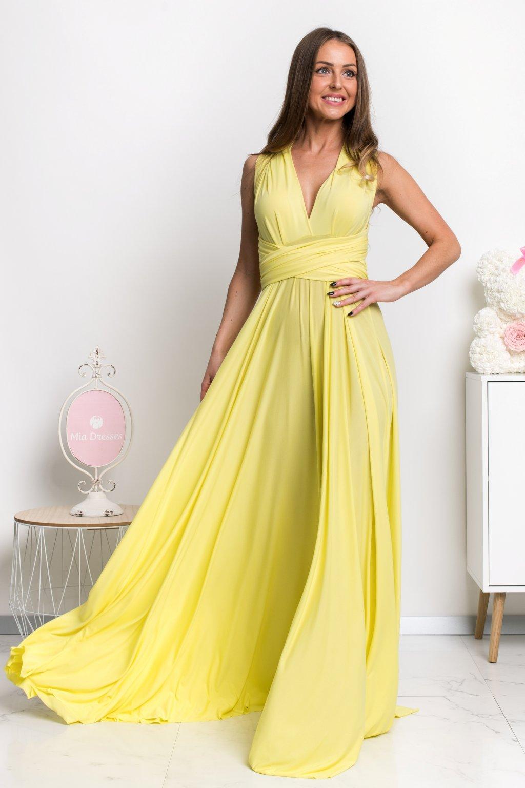 Žlté spoločenské šaty s viazaním