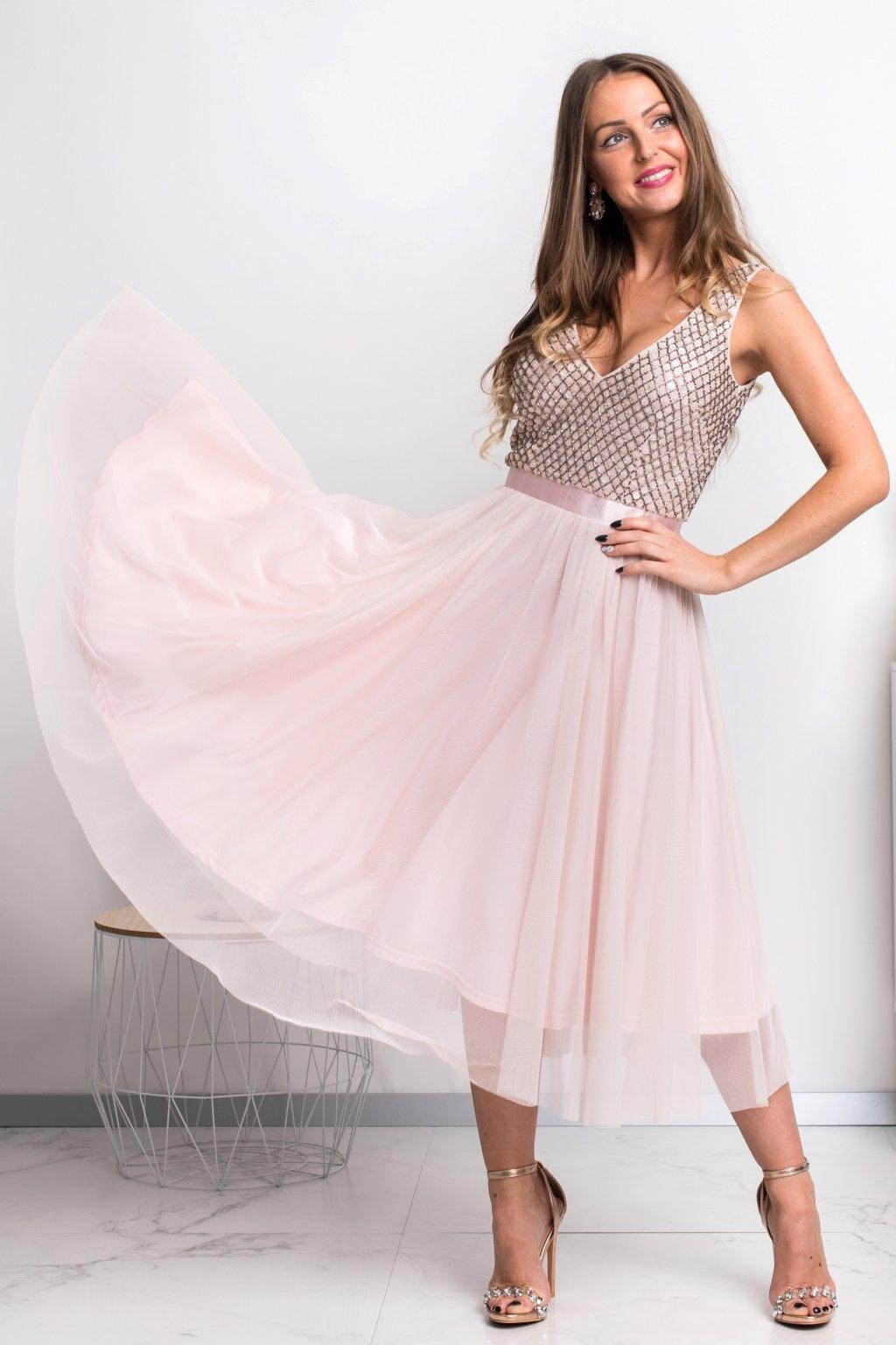Staroružové midi šaty s tylovou sukňou
