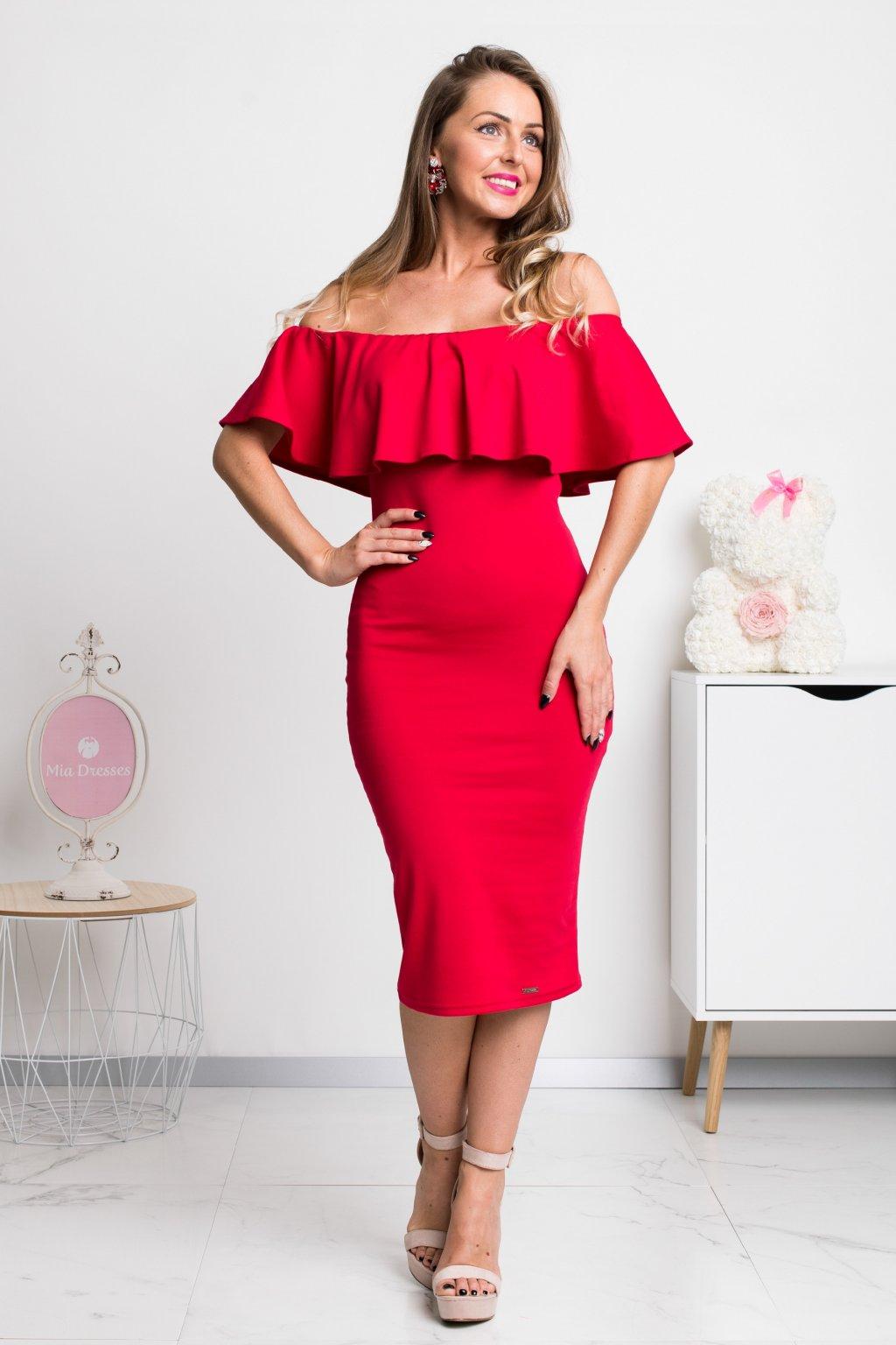 Červené priliehavé midi šaty s volánom