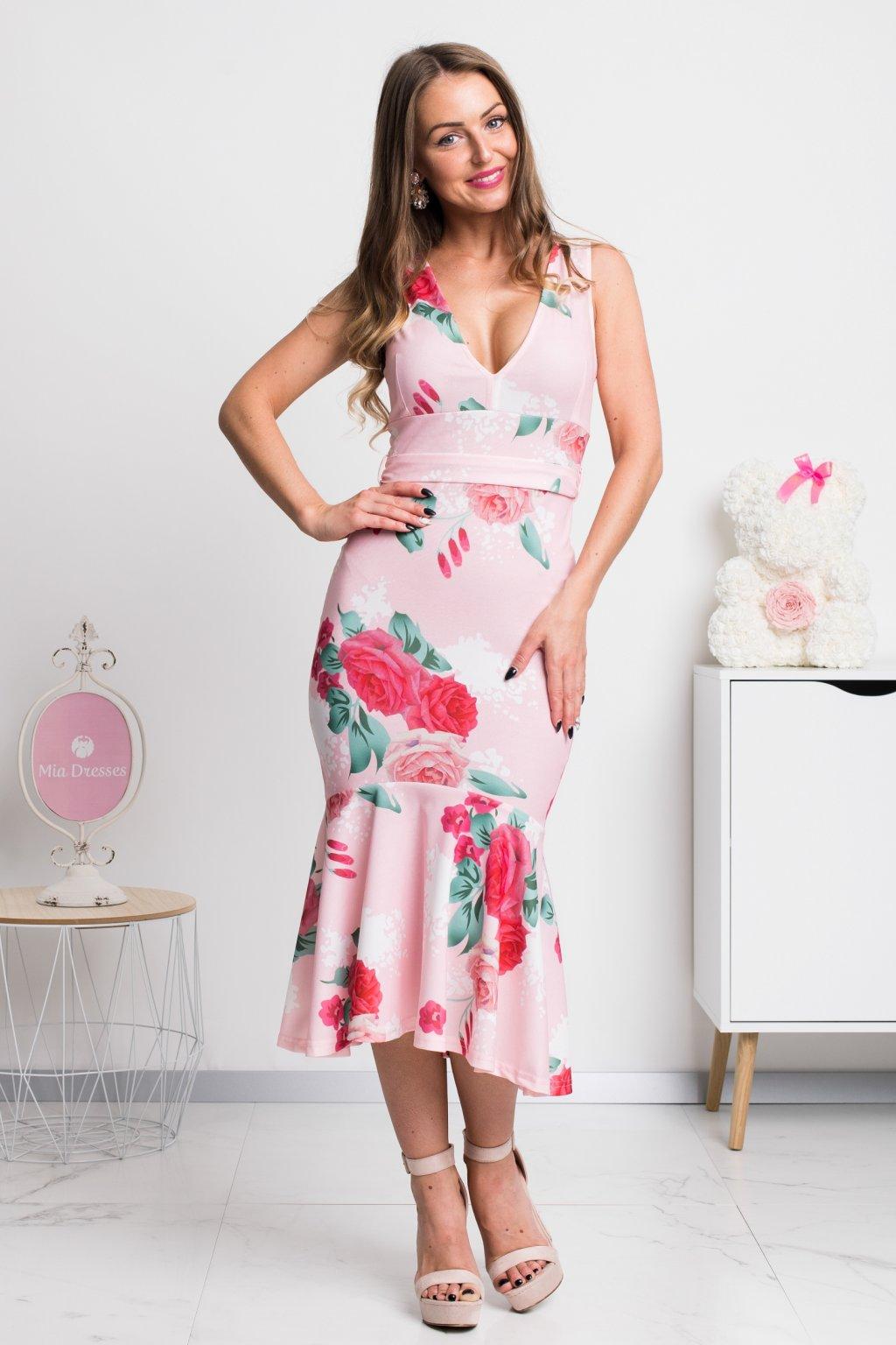 Ružové kvetinové midi šaty
