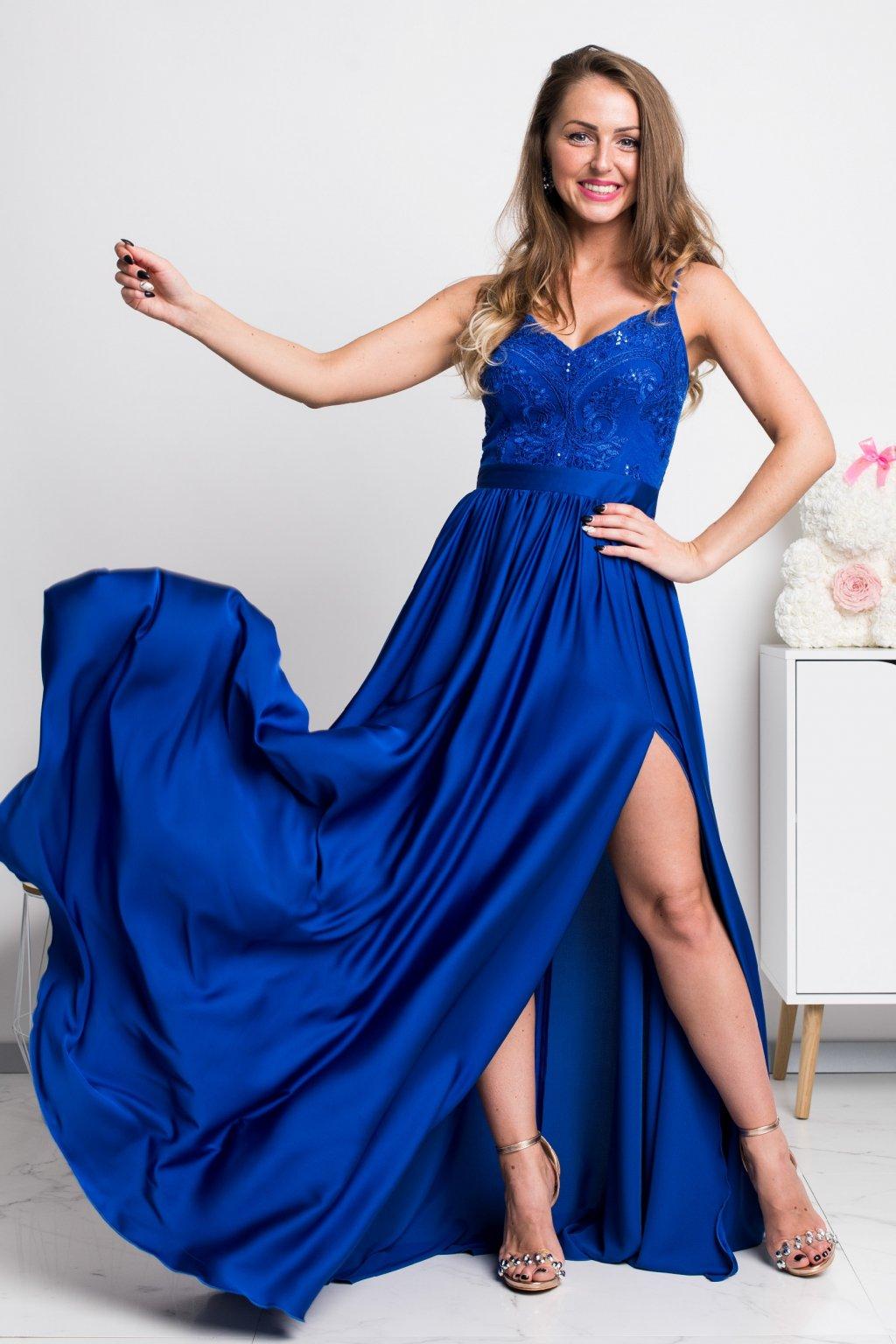 Modré spoločenské šaty s flitrami a saténovou sukňou