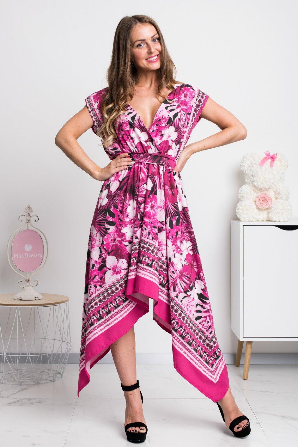 Vzorované asymetrické šaty