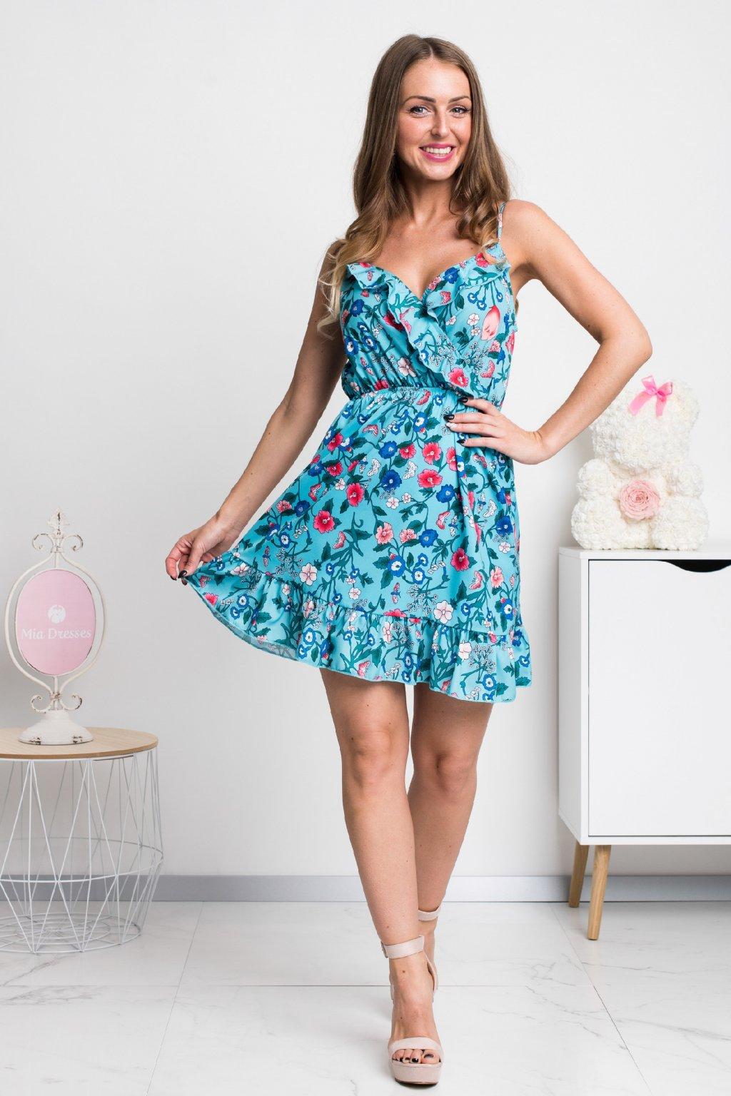 Tyrkysové mini šaty s volánikmi a kvetinkami