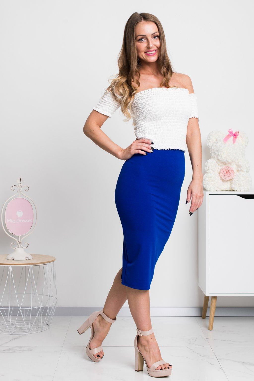 Modrá priliehavá midi sukňa