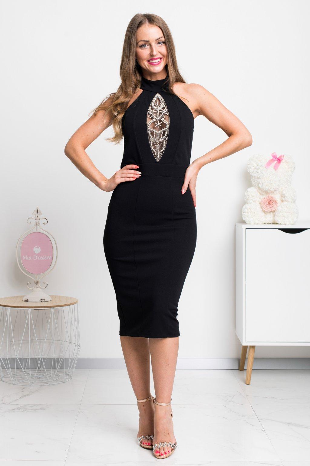Čierne priliehavé midi šaty s perličkami